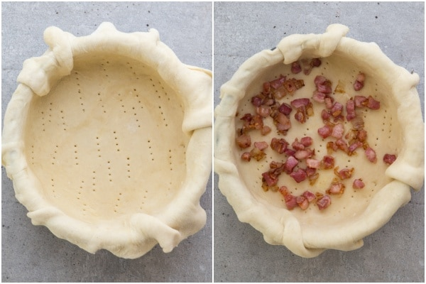 Pie pastry in the pan & the pancetta on top.
