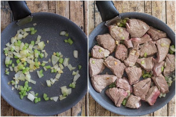 Garlic & onion in the pan and the meat browned on top.