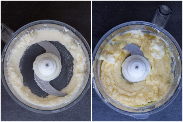 Mixing the butter & egg in the food processor.