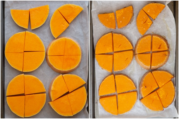 Slices of squash before and after roasting.