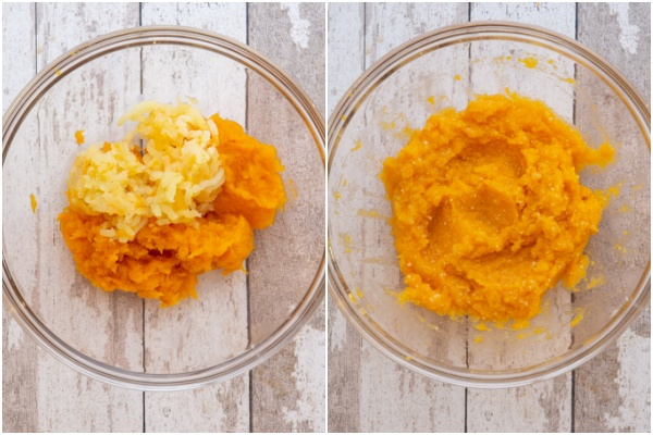Pureed pumpkin & mashed potatoes in a bowl & mixed together.
