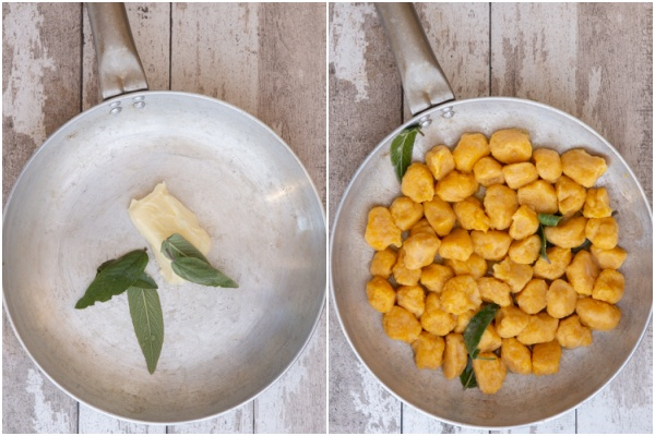 Sage & butter in a silver pan and the boiled gnocchi added.