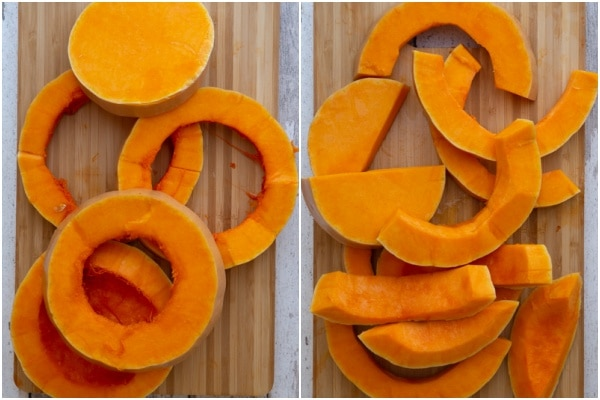 Slicing the squash for roasting on a wooden board.