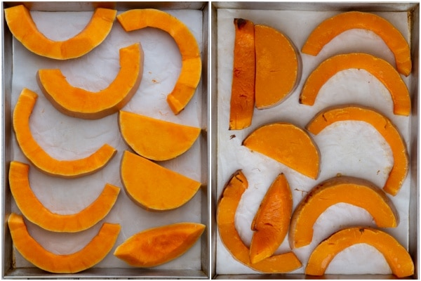 Sliced squash on a cookie sheet before and after baking.
