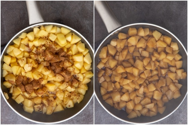 Cooked apples in the frying pan with cinnamon.