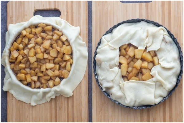Pie dough and filling in the pan and covered with remaining dough.