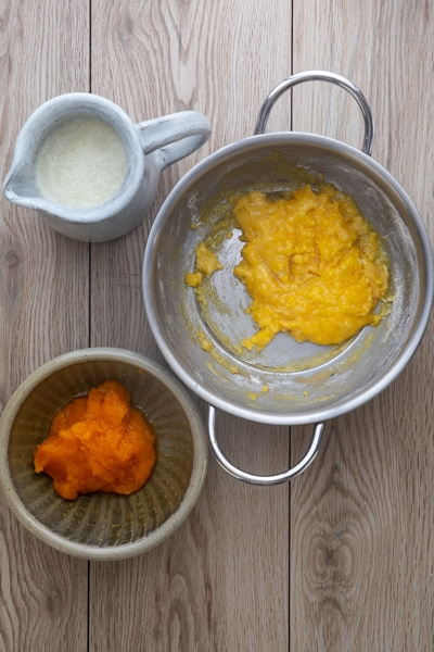 Some of the ingredients for pastry cream.
