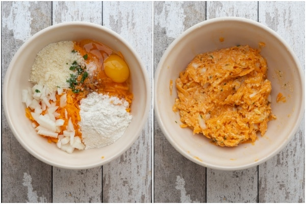 Pumpkin fritter mixture in a while bowl before and after combined.